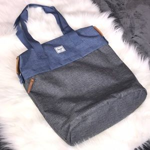 Herschel supply co denim grey leather accented bag